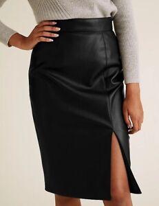 M&S COLLECTION Faux Leather Side Split Pencil Skirt Black Size 16
