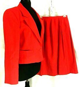 Talbots Womens Cotton Blend Red Skirt Suit Sz 12