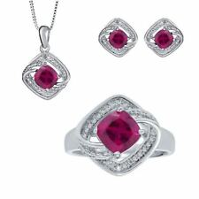 3.41ct Created Ruby Diamonds White Gold Plated Brass Ring Necklace Earrings Set