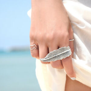 Double Finger Feather Sterling Silver 925 Ring Long Statement Adjustable 6 - 10