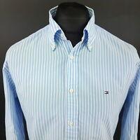 Tommy Hilfiger Mens Shirt MEDIUM Long Sleeve Blue Regular Fit Striped Cotton