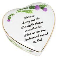 Friends Sentiment Thistles Porcelain Heart Shaped Keepsake Box
