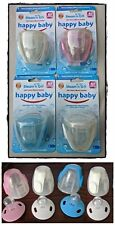 4 x Happy Baby Steam N Go Soothers Steriliser 6 Months + Cherry Silicone Dummy