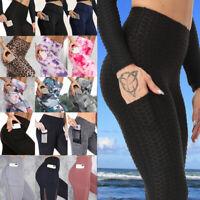 Women High Waist Yoga Pants Pockets Push-Up Leggings Sports GYM Running Trousers