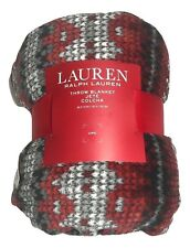 Ralph Lauren Throw Blanket Red/black/gray Holiday Christmas Fleece 60 x 70 New