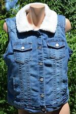 Rockmans Blue DENIM SLEEVELESS JACKET/Vest NEW SIZE 14 RRP$69.99 Faux Wool Trim