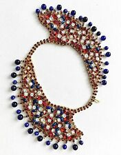 MASSIVE VINTAGE RED WHITE BLUE RHINESTONE JEWEL ENCRUSTED ARNOLD SCAASI NECKLACE