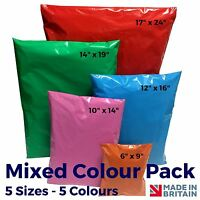 MIXED COLOUR PACK - Coloured Plastic Strong Mail Post Mailing Postage Poly Bags