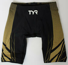 TYR Men's 26 Black Gold AP12 Compression Speed Short Swim FINA Apvd USA Made New