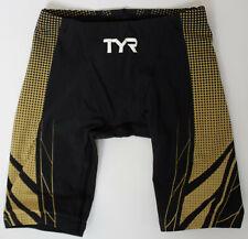TYR Men's 28 Black Gold AP12 Compression Speed Short Swim Tri FINA USA Made New