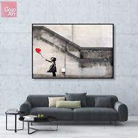 Canvas print wall art big poster Banksy Street Graffiti Artist Red Balloon Girl