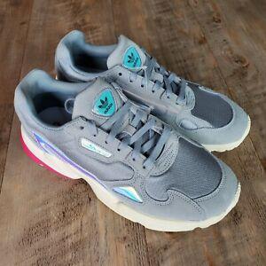 Adidas Falcon Women's Sneaker Shoes SZ 9.5 EG2676 Gray Pink Ortholite Iridescent