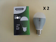 2 X E27 240V 8W LED Cool White Globe -- Bright as 60W!!