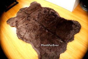 5'x7' brown california bearskin rug faux fur rug shaggy flokati fake fur rug