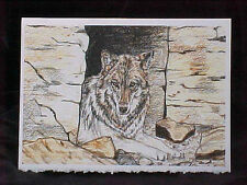 Wolf Card Blank Card Note Card Wolf in Cave can Frame 5x7