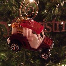 Burgundy Golf Cart Ornament! Chrome Flames Mag Wheels Ez Go Club Car Cushman