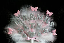 MR & MRS  Engagement or Wedding  Feather, hearts and butterfly  Cake Topper.