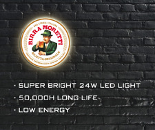 More details for birra moretti led illuminated sign, wall mounted light box for garage, man cave