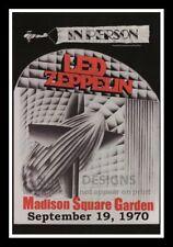 "Framed Vintage Style Rock 'n' Roll Poster ""LED ZEPPLIN IN PERSON, 1970""; 12x18"