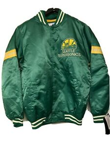 Men's Seattle Supersonics Throwback Satin Starter Jacket Sonics size SMALL