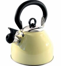 STAINLESS STEEL WHISTLING KETTLE (2.5 Ltr) GAS HOB, CAMPING Light Weight CREAM