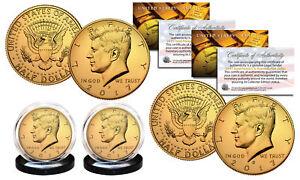 2017 24K GOLD Clad JFK Kennedy Half Dollars 2-Coin Set P&D MINT w/COA & HOLDERS