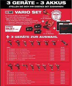 Milwaukee Akku-Set M18FPD+M18CAG-125X+M18ONEFHIWF34+3x5,0Ah Akku+Ladegeräte