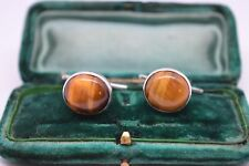 Vintage Sterling Silver Art Deco cufflinks with a Tigers eye insert #B26