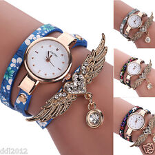 Womens Fashion Heart Wings Crystal Rhinestone Quartz Bangle Bracelet Wrist Watch