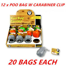 12 x PET DOG POO BAG CARRIER WITH CLIP 20 Disposable Poop Waste Bags Included