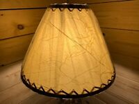 """PAIR (2 ea.) Rustic Crackled Lamp Shades with Suede Lacing - 14"""""""