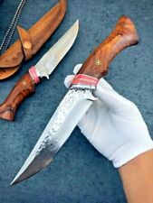Collectible Damascus Steel Knife Fixed Blade Wood Handle Cowhide Leather Sheath
