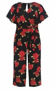 City Chic Ladies Rose Liaison Jumpsuit sizes 14 18 XS Medium Colour Black Floral