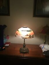 """Antique Bradley & Hubbard Reverse Painted Style Lamp Shade 3 1/4"""" Opening"""