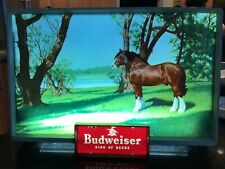 Vintage Illuminated Budweiser Sign Item#182. Beautiful Scenic View. Clydesdales!
