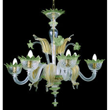Lustre en verre de Murano 6 lumières or vert cristal
