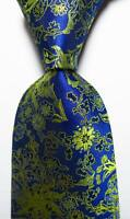 New Classic Floral Blue Gold Yellow JACQUARD WOVEN 100% Silk Men's Tie Necktie