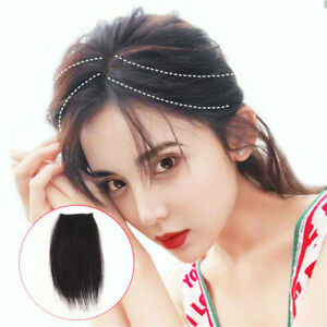 Women Middle Side Bangs One Piece Air Fringe Clip in Human Hair Extension 15cm