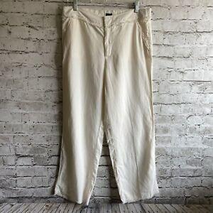 Loft Ann Taylor Ivory Lyocell Linen Raw Edge Women's Pants Size Medium NEW!