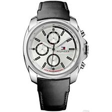 New Tommy Hilfiger Men Black Leather Multi-Function Date Watch 45mm 1791080 $165