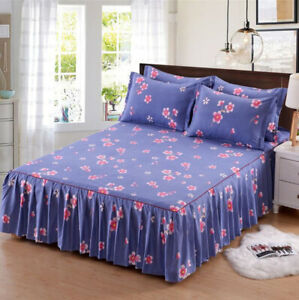 3Pcs/Set Bed Skirt Pillowcases Bedroom Bedding Twin Full Queen King Size