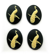 4 new unset IVORY Color Male PEACOCK on BLACK 40mm x 30mm Craft CAMEOS PEA FOWL
