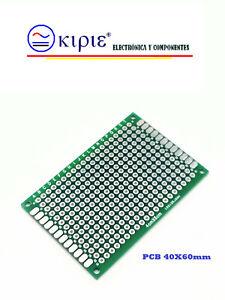 1 UNIDAD PLACA PCB PERFORADA DOBLE CARA.60 mm x 40 mm x 1,6 mm,EXCELENTE CALIDAD