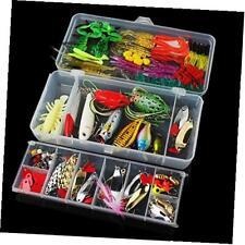 131pcs super value fishing lure set kit lots with tackle box, fishing lures