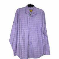 Robert Talbott Carmel Mens Shirt Dress Casual Size Large Purple White Check