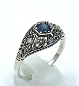 Ring Sapphire & Diamond 925er Silver Antique Style