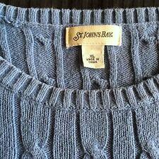 """Vintage ST JOHNS BAY Cableado De Algodón Suéter Azul Clásico/JUMPER 48"""" XL"""