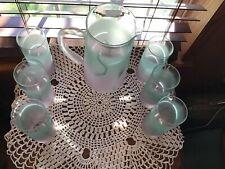 Vintage Lavender Mint Green Chevrier Pettigrew Pitcher & 6 Glasses