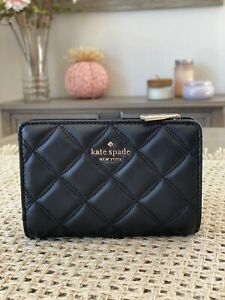 NWT Kate Spade Natalia Quilted Leather Medium Compact Bifold Wallet in Black