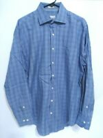 Peter Millar Mens Size Large Blue Plaid Cotton Long Sleeve Button Up Shirt